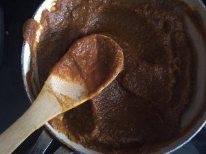 pumpkin puree on the stove