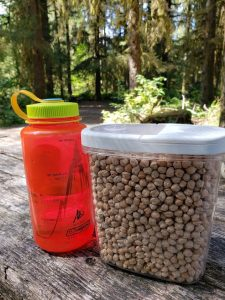 Dried beans and a Nalgene bottle go together perfectly while camping