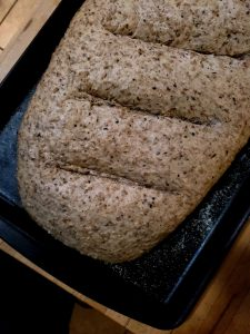 freshly baked spent grain bread