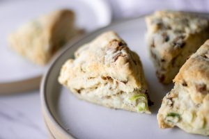 close up of pork belly savory scones