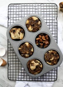 figgy coffee cake muffins in the pan