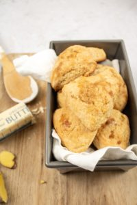 a tin of ginger turmeric scones ready to eat!