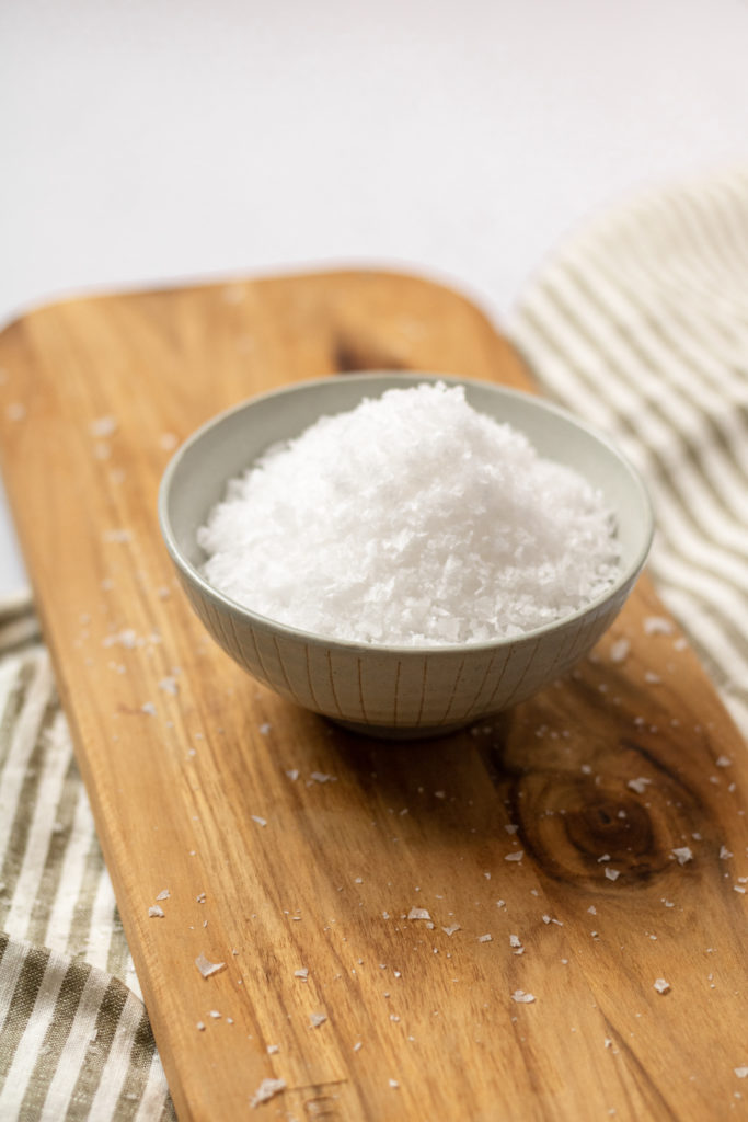 a bowl of Maldon finishing salt