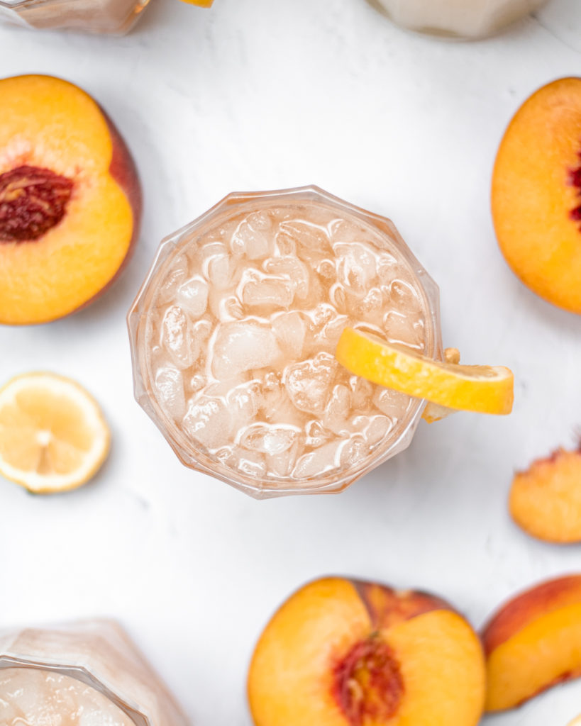 an air shot of peachy bourbon lemonade