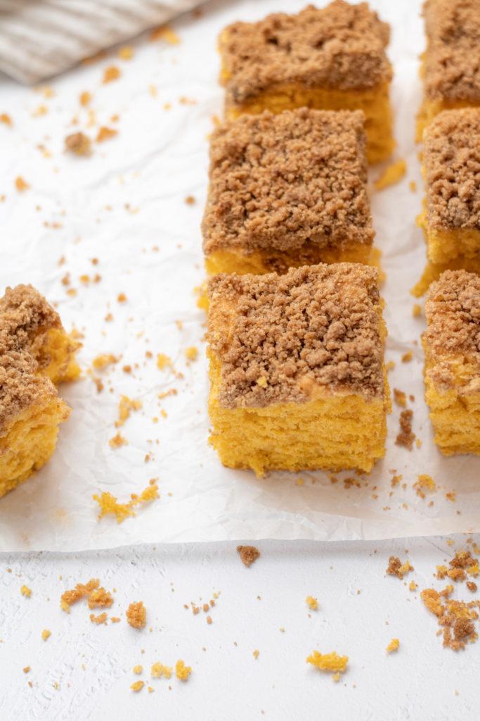 a side angle of pumpkin coffee cake squares